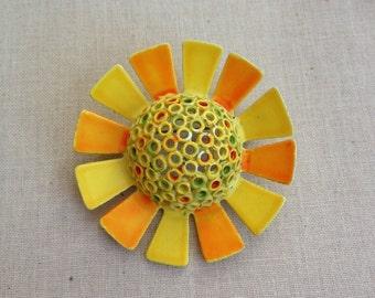 Vintage enamel flower pin, yellow, orange, floral, bridal bouquet, weddings, vintage, jewelry, flower power, repurpose, metal flower, 1960s