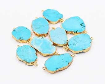 Raw Turquoise Connectors -- With Electroplated Gold Edge Charm Wholesale handmade craft supply CQA-023