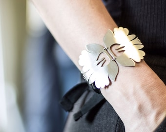 Polish Folk Bracelet, Silver floral handcut bracelet