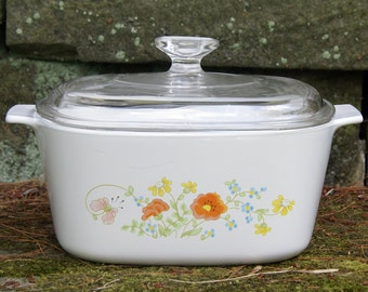 New with Tags ~ 3 Liter/Qt. ~ Corning Ware Wildflower ~ A-3-B ~ Saucepan/Casserole with Pyrex Lid & Plastic Lid ~ Small Roastser ~ 1970s-80s