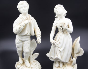 Porcelain Figurines Boy and Girl Holding Flowers Italy