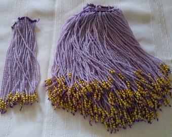"Vintage Lavender Purple & gold Egytpian beaded fringe 6"" x 41"" length for Belly Dance Costume RETRO Burlesque Cabaret Tribal Fusion Jazz"
