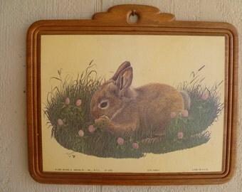 Vintage Wooden Wall Plaque Bunny Rabbit 1980