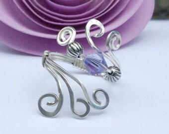 Swarovski Tanzanite Purple Ring, Swarovski Crystal Ring, Adjustable Argentium Wire Ring, Statement Ring, Purple and Silver Ring.