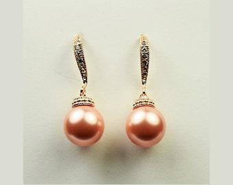 Rose Peach Wedding Pearls 592ERG. ROSE PEACH Pearls Rose Gold Bridal Earrings. Rose Peach Pearl Earring Rose Gold Wedding Jewelry Bridesmaid