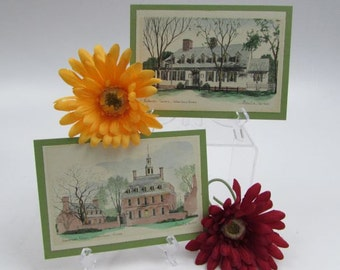 Raleigh Tavern and Governor's Place, Williamsburg, Virginia, Drawings Hand Painted, Andrew Dedula