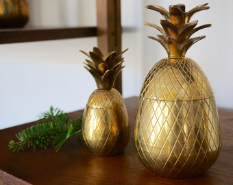 Vintage Brass Pineapple Candle Holder 6""