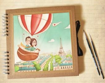 Photo album with custom illustration