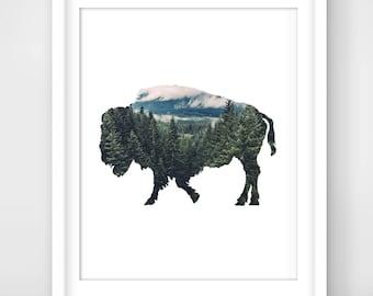 30% OFF SALE Buffalo Print, Wood Print, Pine Forest Print, Buffalo Art, Printable Buffalo, Digital Print, Printable Wall Art, Bison Print