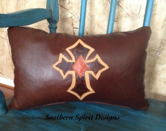Leather Cross Pillow