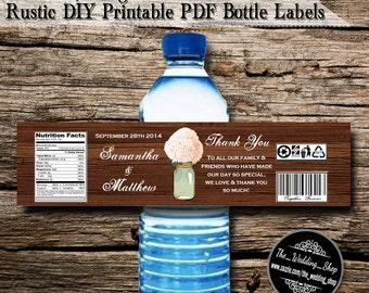 Peach Hydrangea & Mint Mason Jar Rustic Wedding DIY Printable PDF Bottle Labels
