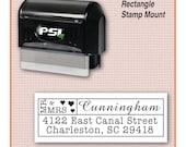 Custom Address Stamp, Personalized Return Address Stamp, Wedding Stamp, Mr and Mrs Stamp