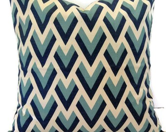 Invisible Zipper Pillow Cover-Light Aqua , Navy Blue and Cream-10 Available Sizes-Throw Pillow, Couch Pillow Cover, Lumbar
