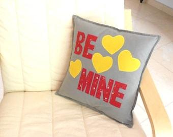 Applique cushion, handmade cushion, grey cushion, valentine cushion, heart applique, envelope back