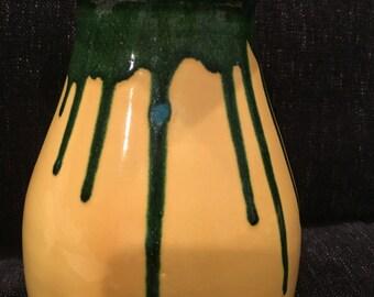 Studio art vase yellow green turqoise glaze