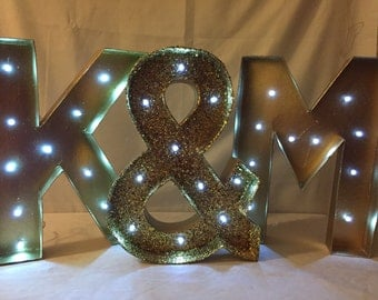 Marquee Wedding Letters-Custom Light Up Letters-Lighted Wedding Letters-Initial Marquee Letters-Choose any color