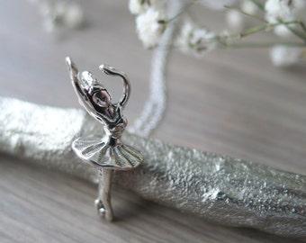 Sterling Silver Ballerina Necklace, Dancer Gift, Ballerina Dancer, Ballet Necklace, Twirling Ballerina