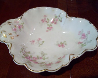 Antique Haviland France Haviland & Co. Limoges Hand Painted Porcelain Candy Dish - Made in France - Early 1900's