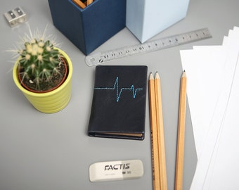 "Mini leather notebook ""Cardiogram"""