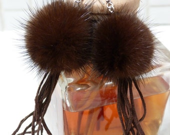 Fur Earrings, Upcycled/Recycled REAL  Mink Fur PomPom
