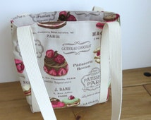 Canvas small tote bag in patisserie fabric, fully lined with a full width zip pocket, present for baker, gift for mum or sister