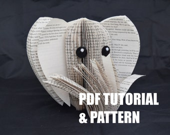 PDF Tutorial and Pattern - Book Art Elephant- Paper cutting Pattern - Instructions - photos - Instant Download - DIY Elephant ornament