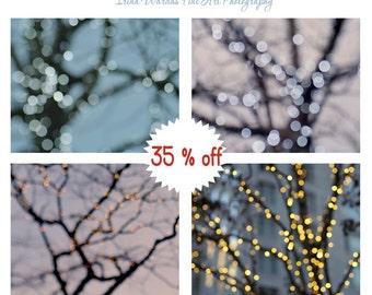 Holiday wall art, lighted tree wall decor, abstract photography set of 4 modern art prints, sparkling light bokeh, tree bokeh fairy lights