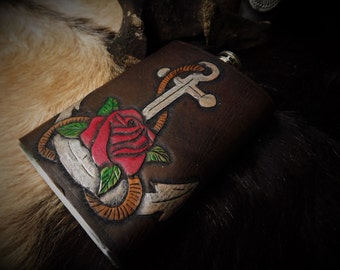 Custom Leather Flask - Nautical Rose and Anchor 8oz Flask with leather cover