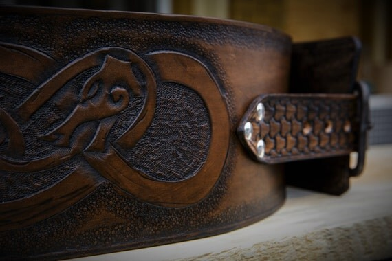 Norse Viking Knotwork Dragon Leather Warrior Belt - Kidney Belt - Celtic Belt