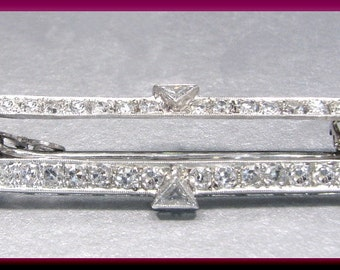 Antique Vintage Platinum Art Deco Diamond Bar Pin Brooch