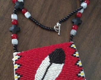Beaded White leather medicine pouch necklace