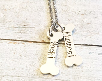 Dog tag - Hand stamped dog tag - Custom dog tag - Dog bone necklace - Dog jewelry - Personalized tag - Custom gift