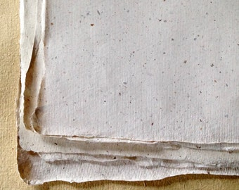 half sheets Banana Cotton Rag paper, Khadi Indian handmade paper, off-white speckled paper paper 56 x 37cm 22 x 15inches rough or smooth