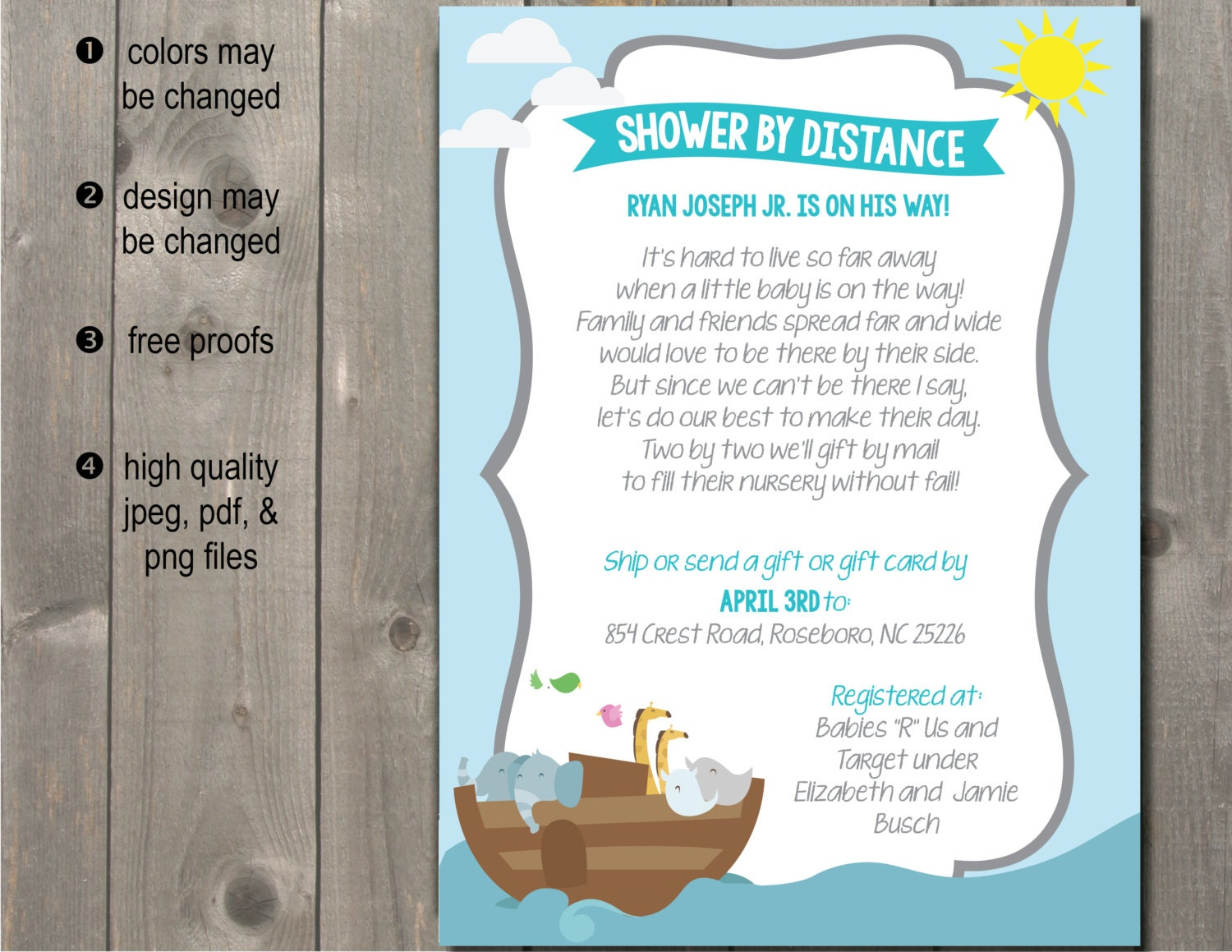 Long Distance Relationship Wedding Invitation: Long Distance Baby Shower Invitation Announcement / Shower By