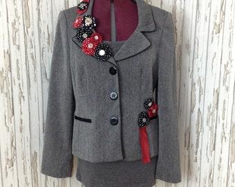 Unique ladies jacket / blazer with yoyos !!  / unusual / upcycled / refashioned / vintage ties / ooak