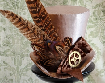Bridal Steampunk Mini Top Hat,Victorian Tea-party Mini Top Hat with Pheasant Feathers,Victorian Wedding Hat- Ready to Ship
