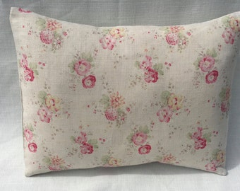 Cushion Cover in PEONY & SAGE   Sweet Peas and  Roses linen   Beautiful Design