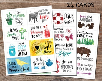Lunchbox cards. Set 3. Christian notes. Instant download printable PDF. 24 encouragement cards-kids, adults. Inspiration for child, students
