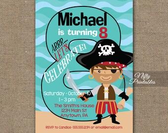 Boys Th Birthday Invitation Th Birthday Pirate Invitations - Birthday invitation card for 8 year old boy