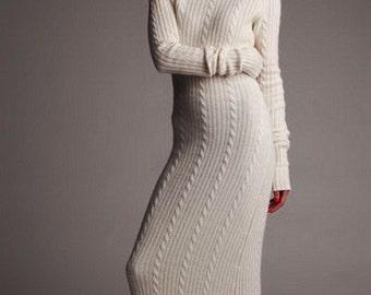 Women's hand knit maxi dress turtleneck sweater coat jacket women hand knitted women's dress sweater cardigan clothing handmade