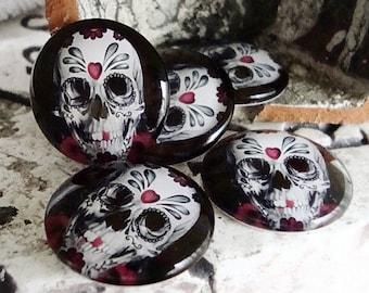 10 Skulls Cameo Cabochons ,25MM Glass Cabochon,Flat Cabochon,,Dome Cabochon,Jewelry Cabochon