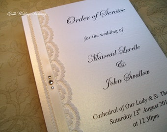 Wedding Ceremony Booklet. Order of Service. Vintage Wedding Booklet.