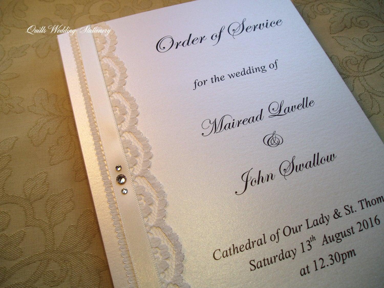 Wedding Ceremony Booklet. Order Of Service. Vintage Wedding