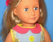 """Doll Clothes to Fit American Girl or 18"""" Dolls -Yellow Flowered Top and Blue Shorts  - Handmade Doll Clothes"""