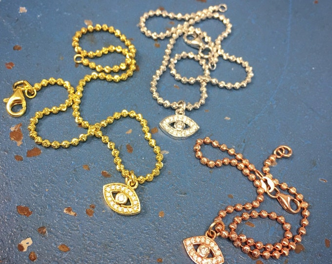 Diamond Evil Eye Bracelet in 14k Gold