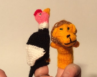 Vintage Peruvian Knitted Handmade Crocheted Chicken/Rooster and Lion Finger Puppets, So Cute!