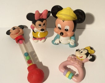 Vintage 1980s Lot of 4 baby Mickey/Minnie Baby Toys, Squeaks, Rattles,