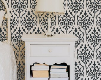 Bernice Damask Wall Allover Stencil for DIY Wall Home Decor