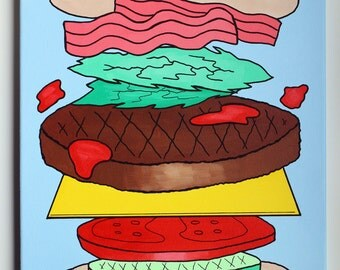 Burger Deconstructed Large Pop Art Painting On Canvas