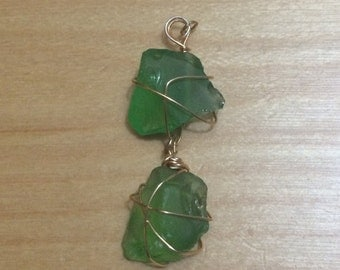 Double Drop Down light green Sea Glass Pendant